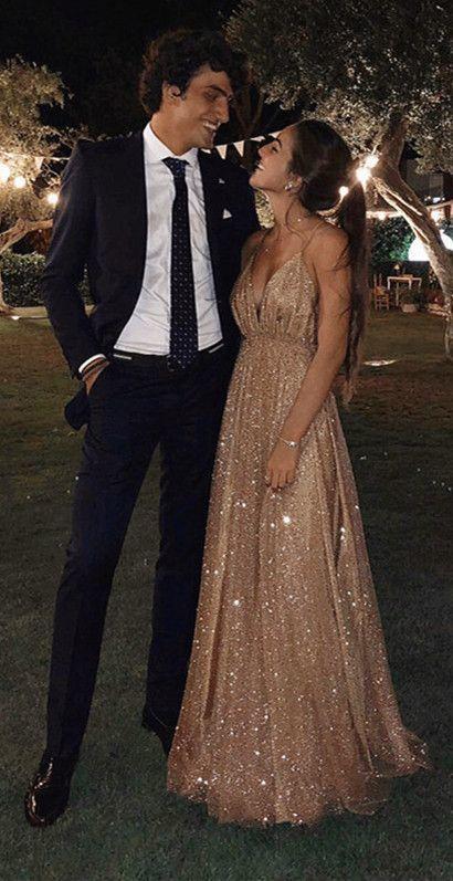 Long Sequins Evening Dresses Plunge V-neck Prom Gowns 2019