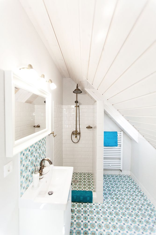 our granada cement tiles add colour to this neat bathroom, don't they