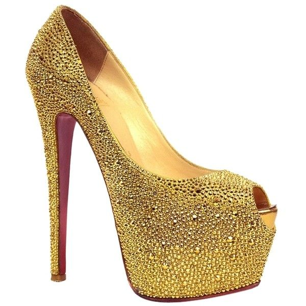 Pre-owned Christian Louboutin Highness Strass Size 36.5 Gold Pumps ($2,530) ❤ liked on Polyvore featuring shoes, pumps, heels, gold, gold special occasion shoes, peep-toe pumps, gold peep toe pumps, peep toe shoes and evening shoes