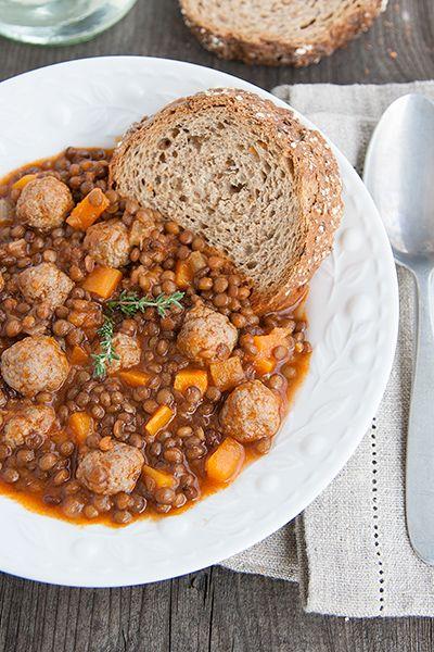 Minestra di lenticchie e carne macinata