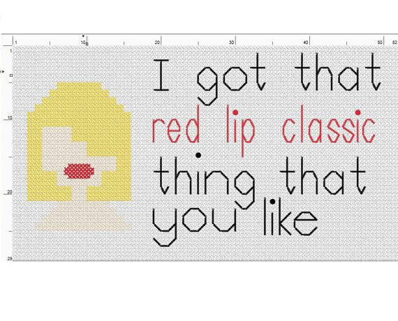 Cross Stitch Pattern - Lyrics - Taylor Swift Style - I got that red lip classic thing that you like -  PDF - Instant Download