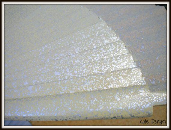 Fairytale Bridal Wedding Hand Fan Cream Silver by DengraDesigns