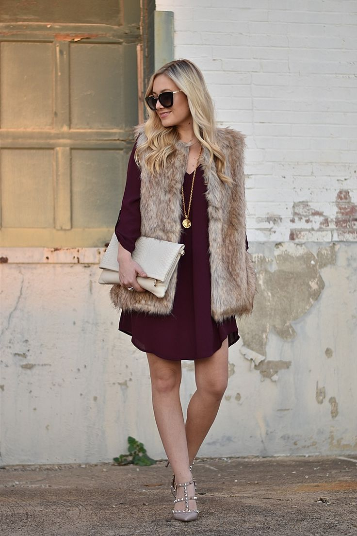 Faux Fur Vest, Burgundy Dress, Holiday Dress, Long Sleeve Dress, Julie Vos, GiGi New York Bag, Valentinos, Valentino Rockstuds, Nude Valentino Rockstuds, Prada Sunglasses, Nordstrom Dress, Holiday dress under $50