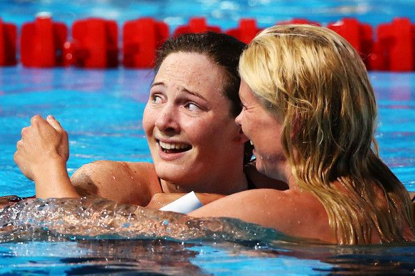 Cate Campbell of Australia (L) is congratulated by Britta Steffen of Germany after the Swimming Women's Freestyle 100m Final on day fourteen of the 15th FINA World Championships at Palau Sant Jordi on August 2, 2013 in Barcelona, Spain.