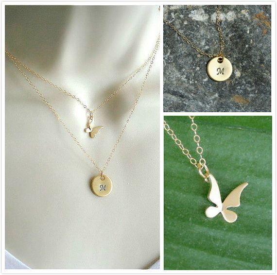 Gold Layered Set of 2 necklaces Gold Butterfly by smilesophie