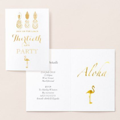 #Gold Foil 30th Birthday Hawaiian Tropical Party Foil Card - #birthday #gifts #giftideas #present #party