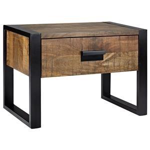 Atelier - Industrial Chic - Wood nightstand with metal legs/NIGHT TABLES/BEDROOM/ATELIER BOUCLAIR Bouclair.com