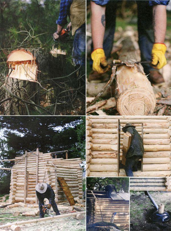 Building a log smokehouse.