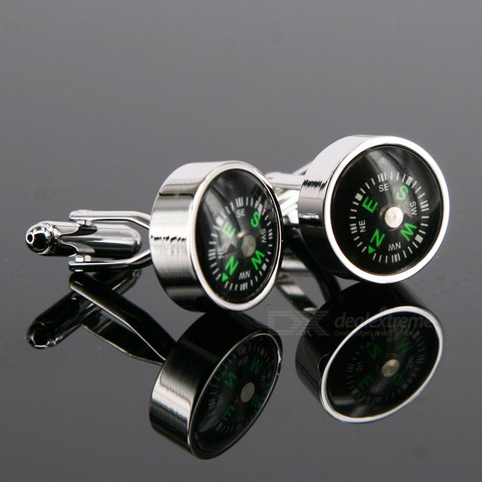 Compass Shaped Cuff Links/Buttons (Pair)