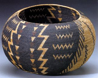 1929 Paiute polychrome basket of degikup form by Tina Charlie    Just over 20 inches in diameter, is one of perhaps only ten of its size ever produced in the Yosemite-Mono Lake region.