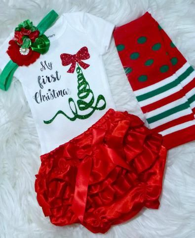 Baby Girls First Christmas Outfit, Baby Girls 1st Christmas Onesie