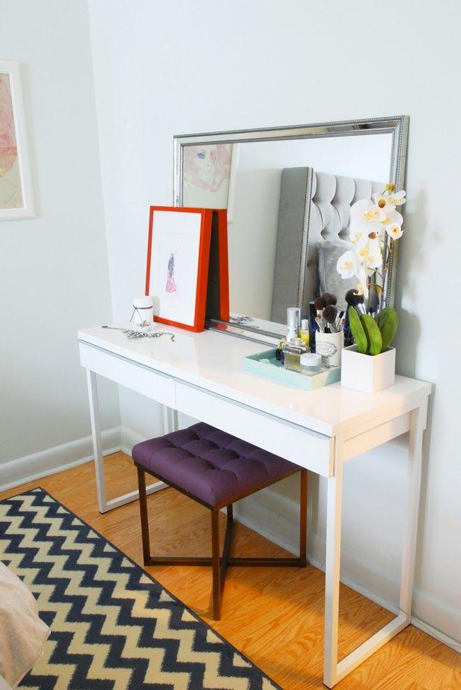 Rambling Renovators: #RockTheRental: A Bedroom For Her // use simple target desk as a makeup station