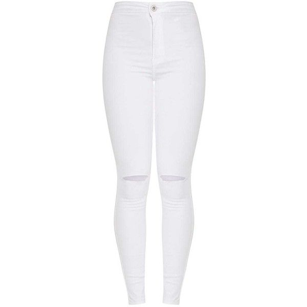 Elidih White Knee rip Skinny Jean ($44) ❤ liked on Polyvore featuring jeans, ripped jeans, distressed skinny jeans, skinny jeans, destroyed jeans and destructed jeans