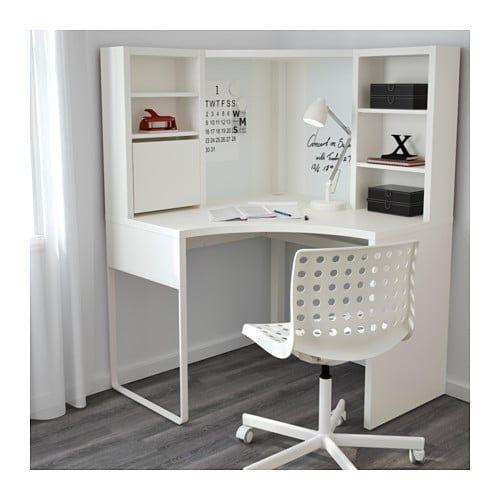 Incroyable MICKE Corner Workstation, White White 39 3/8x55 7/8