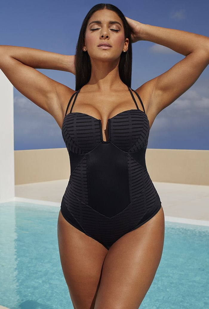 Robyn Lawley Burnout Black X-Strap D/DD Underwire Swimsuit