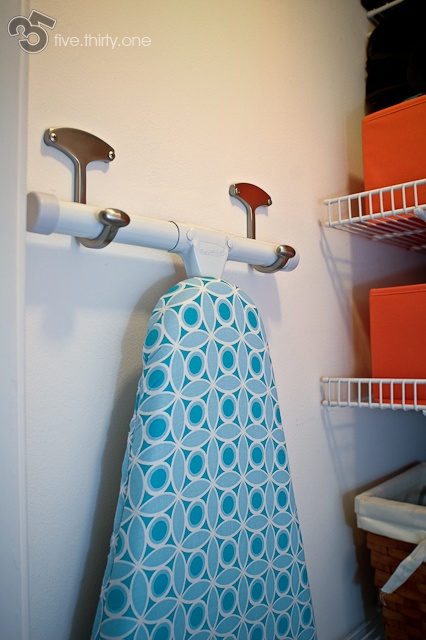 My favorite way to store the ironing board...: Arrangement