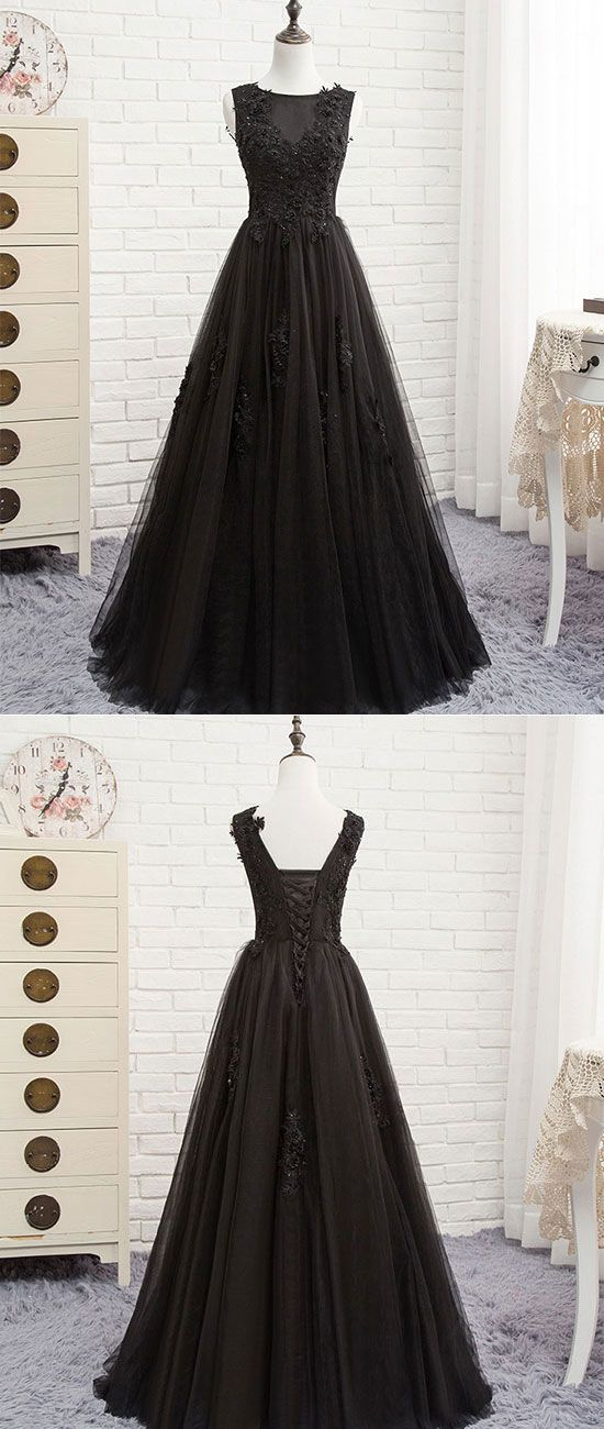 Black round neck tulle lace long prom dress, black evening dress