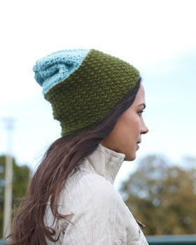 Stay cozy in this color-blocked slouchy hat. Shown in Bernat Sheep(ish) by Vickie Howell.