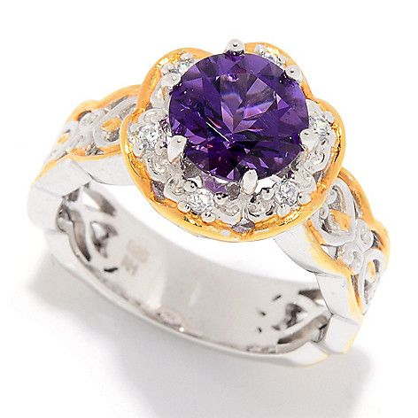 170-831 - Gems en Vogue  1.98ctw Ametista  do Sul Amethyst  & White Zircon  Halo Ring