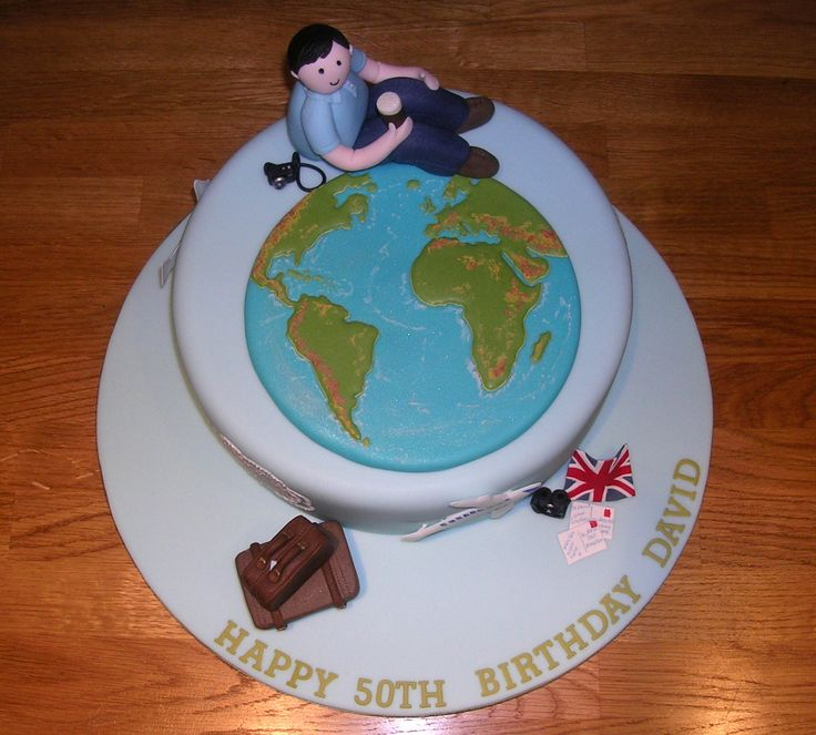 World travel themed 50th birthday cake adult birthday for Adult birthday cake decoration