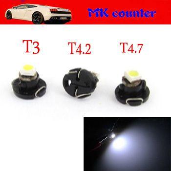 100 шт. X T3 T4.2 T4.7 1 СМД 1210 3528 из светодиодов 1SMD B8.5D салона панель лампочки из светодиодов авто лампочка из светодиодов автомобильные фары белый синий