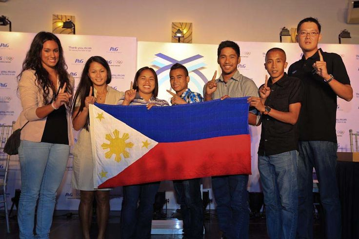 Members of the Philippine Olympic Team for the 2012 Olympic Games in London pose for pictures during their send-off ceremony on Monday. They are (from left) Jamine Alkhadi for swimming, Marestella Torres for long jump, Hidilyn Diaz for weightlifting, Mark Anthony Barriga for boxing, Jessie Khing Lacuna also for swimming, Rene Herrera for the 5000m run and Brian Rosario for skeet shooting.