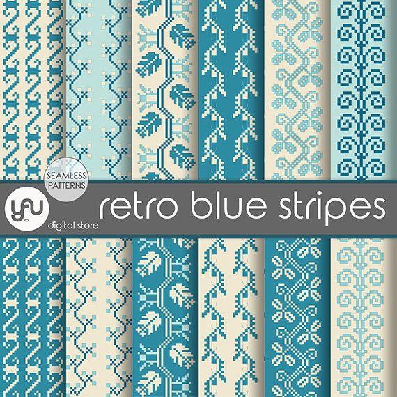 "Vintage digital paper: ""RETRO BLUE STRIPES"" with vintage scrapbook paper, vintage seamless patterns on ivory and blue for scrapbooking, card"