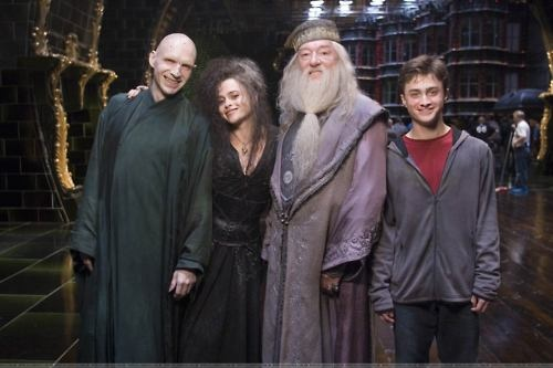 Pausing during the filming of Harry Potter and the Order of the Phoenix: the actors who play Voldemort, Bellatix, Dumbledore and Harry