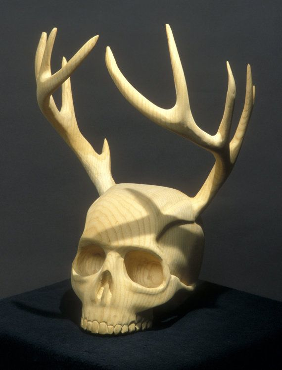 Skull Wood carving and wooden antlers The Woodsman by jasontennant