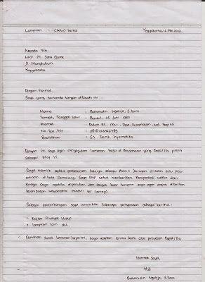 Contoh Surat Lamaran Kerja Di Kertas Folio