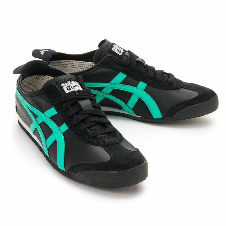 asics tiger black and green