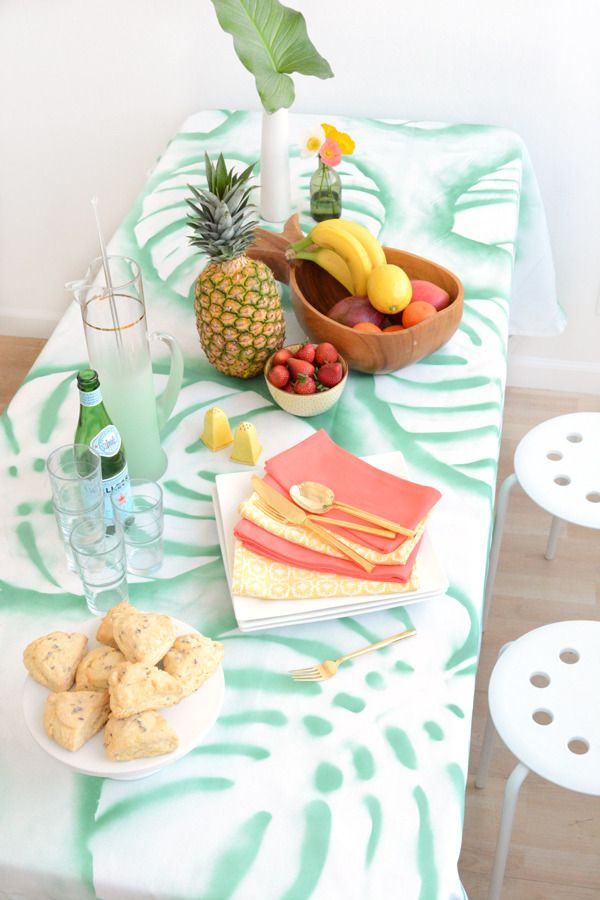 Add a little trendy, tropical green to your next dinner party with this simple DIY tablecloth.