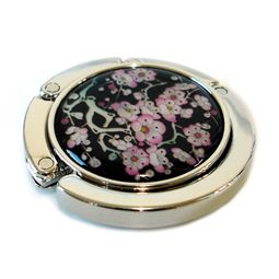 Mother of Pearl Handbag Hanger with Pink Apricot Flower Design