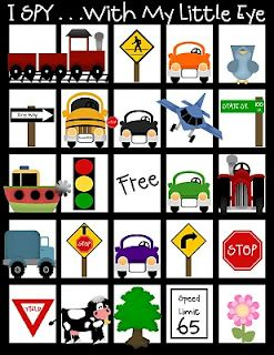 Printable I Spy Bingo came for the car (and more cute stuff).  Already pinned another. Ire road trip activity from the same blog. But this is awesome for my kiddos that are non-readers!