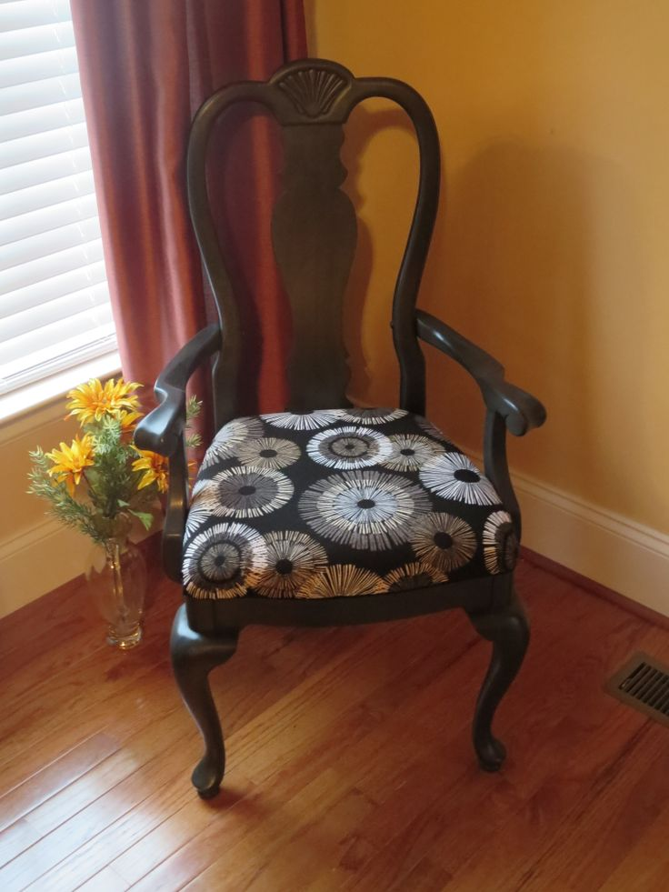 First Chair Restored with Annie Sloan Graphite Paint.  My oldest son saw I was planning to discard a dining room set and asked me to repair and restore.