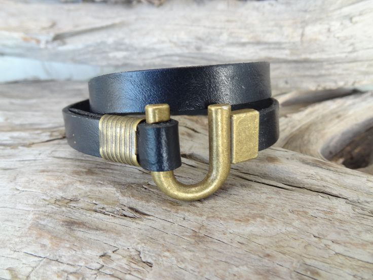 Black Wrap Leather Bracelet, Bronze Hook Clasp and Black Leather, Leather Jewelry, Unisex Wrap Bracelet, Father's Day, Gift for Him by ClassyMen on Etsy