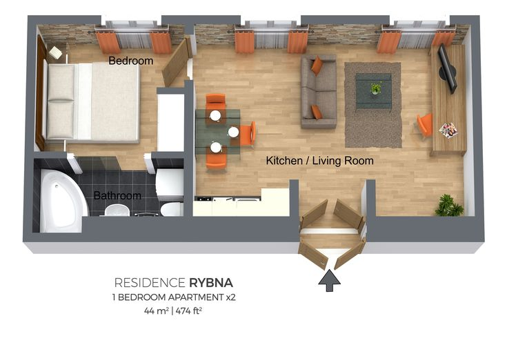 Floorplan of a one bedroom apartment in Residence Rybna, Prague.