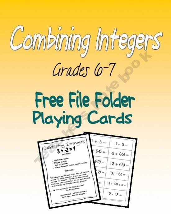 Combining Integers FREE download.: Maths Integers, Schools Integers, Teacher Notebook, Integers Y, Math Integers, File Folder, Integers Freebies, Positive Neg Integers, Combinations Integers