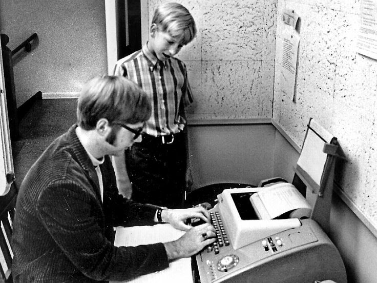 Bill Gates standing, aged 13,with co-founder and childhood friend Paul Allen