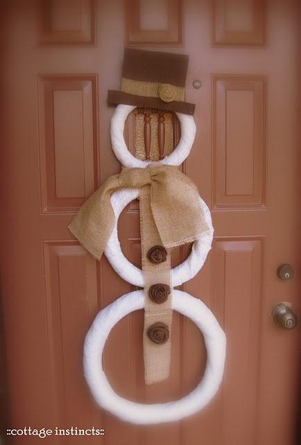 snowman door decor with foam wreaths