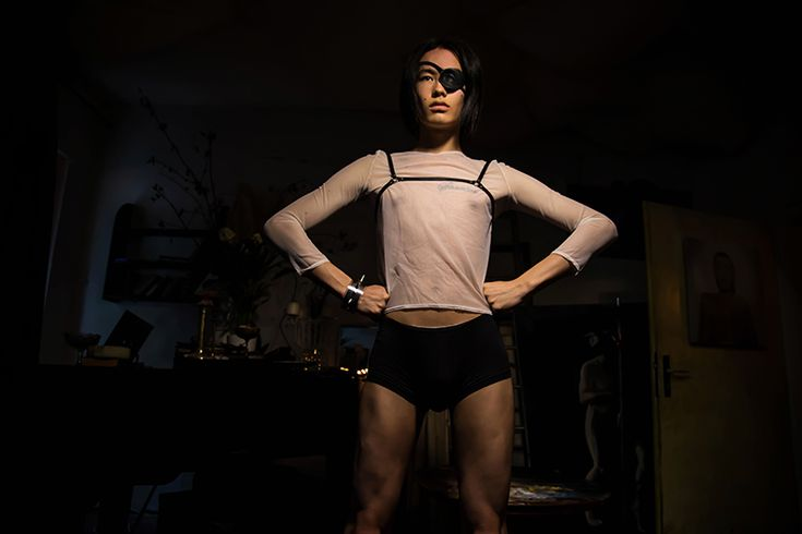 Minimalist harness Leather eye patch Transparent shirt   Photo by Tina Dubrovsky