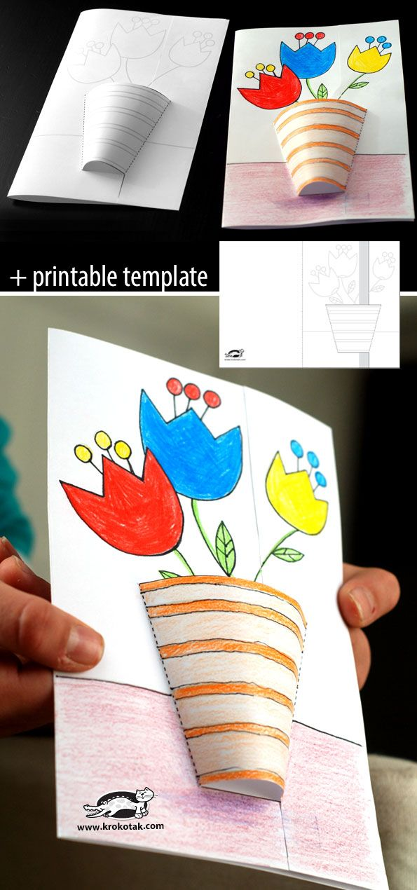 3D spring card cardwith handprint flowers and styrofoam cup pot. Start before group time on monday. Begin by decorating cards with crayons and stickers on inside.