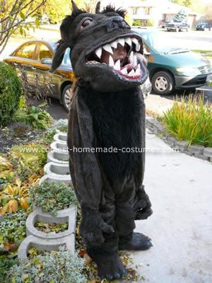 Homemade Swallowed by a Monster costume. she says the secret is plumbing pipe insulation & fun fur. WOW!