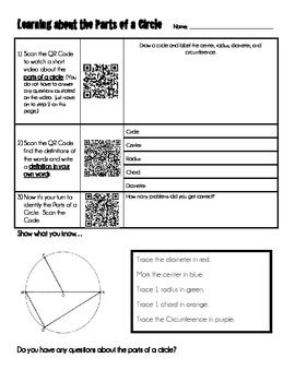 This is a unique independent activity where students will use a bar code scanner on a smart phone, iPad, or iPod to navigate through a short lesson on the Parts of a Circle.  This is meant to be an introduction to the basic vocabulary. Students will use the bar code scanner to scan an embedded QR code that will take them to a video, website, and game on the Internet.