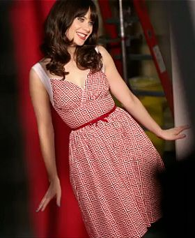 Zooey Deschanel's Red square printed dress on New Girl Season 3 Promos.  Outfit Details: http://wwzdw.com/z/4252/ #WWZDW