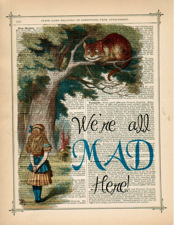 ART PRINT ON ANTIQUE BOOK PAGE Cheshire Cat Alice in Wonderland Dictionary