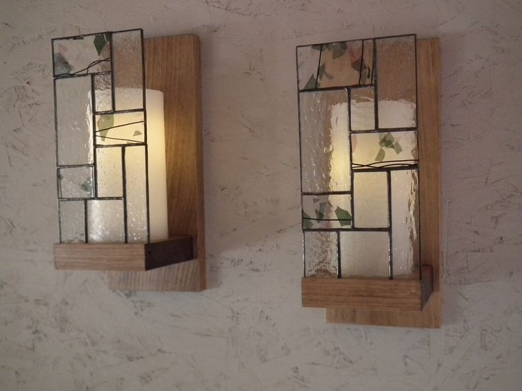Chandelier in wood and stained glass with flameless timer, no need to deal, it lights up and goes off alone. by NathliseCreations on Etsy https://www.etsy.com/listing/227083596/chandelier-in-wood-and-stained-glass