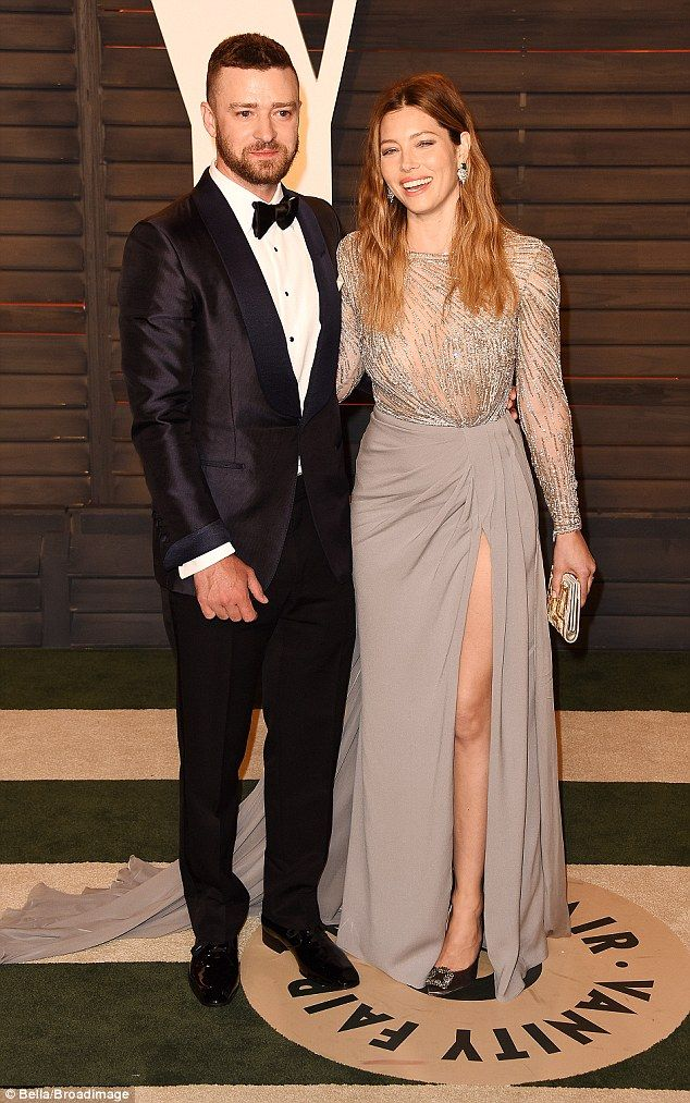Date night: Justin Timberlake and Jessica Biel couldn't keep their hands off each other as they partied at the2016 Vanity Fair Oscar Party, hosted by Graydon Carter in Beverly Hills on Sunday night