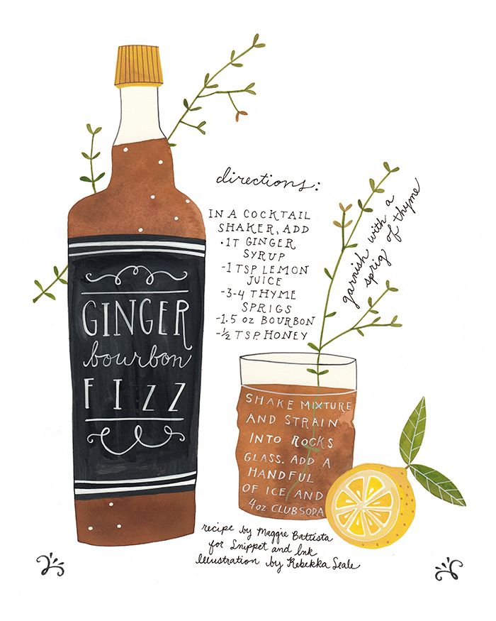 Normally I'd say don't mix anything with my bourbon... but when it's so beautifully illustrated? | Ginger Bourbon Fizz