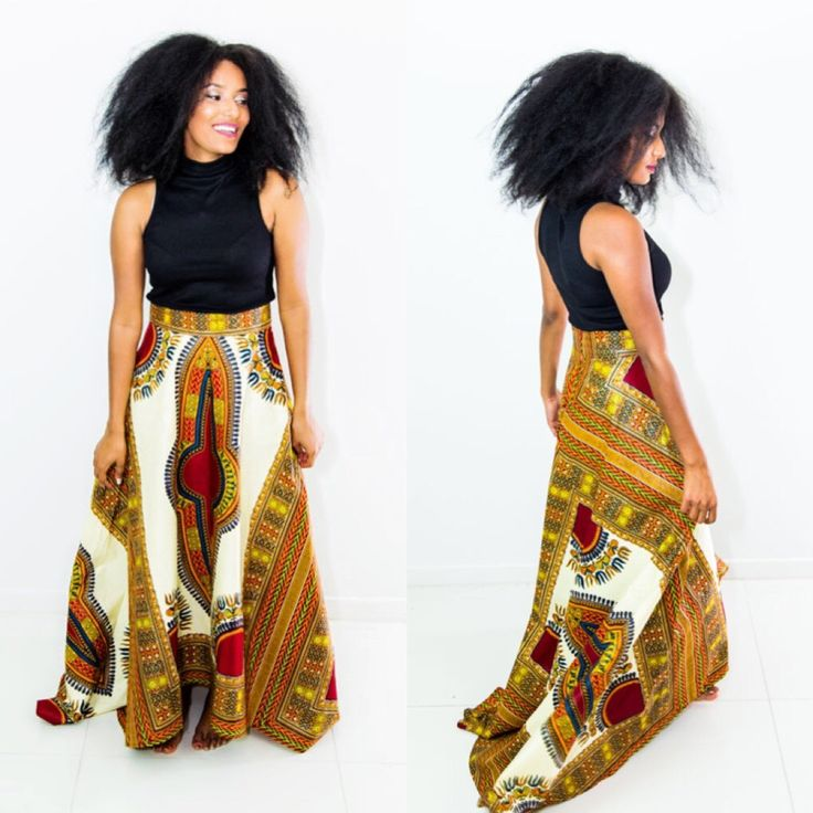 """The stunning design is a must have. click below and purchase this beautiful Maxi Skirt http://naykons.com.au/product/dashiki-skirt/ Description: Ankara/Kitenge Fabric 100% Cotton 47"""" long back 38"""" long front  Back Zip Lined"""